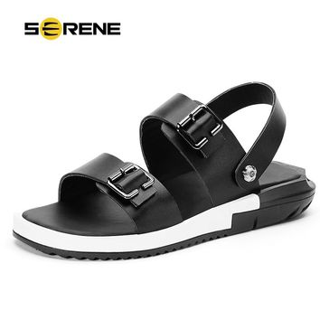 SERENE 2017 New Arrival Summer Big Size 38-44 Sandals Cow Leather Black White Flip Flops Wear-resistan Men Shoes Male Shoes 2173
