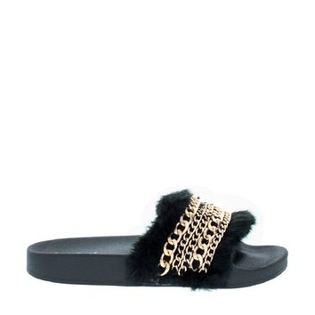 Fluffy Chain Slipper Slide (BLACK)