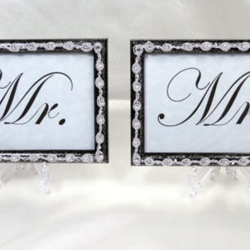 Mr & Mrs Wedding Sign Picture Frames Black and Silver Glitter with Rhinestones on Clear Decorative Display Stands