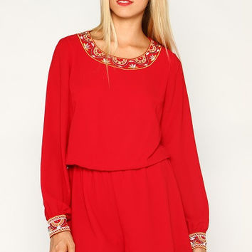 Red Averie Embroidered Romper