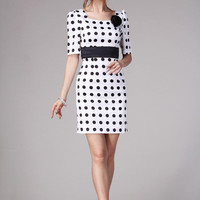 Polka Dots Print Sheath Bodycon Dress with Black Belted Ribbon