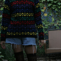 80s Slouchy Hipster Sweater / 80s Abstract Sweater / SWEATER