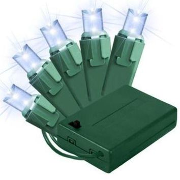 5MM Chonical Battery Operated Pure White LEDs 50 count lights set on Green Wire WITH 8 FUNCTION CONTROLLER - 1 Units