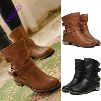 New Women Round Toe Low Heel Buckle Shoes Combat Military Mid Calf ANKLE BOOTS