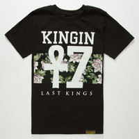 Last Kings Floral Stripe Boys T-Shirt Black  In Sizes