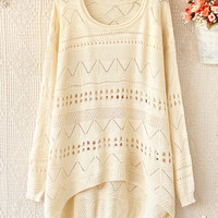 Fashion Cream Crimping Neck Long sleeve Hollow Sweaters