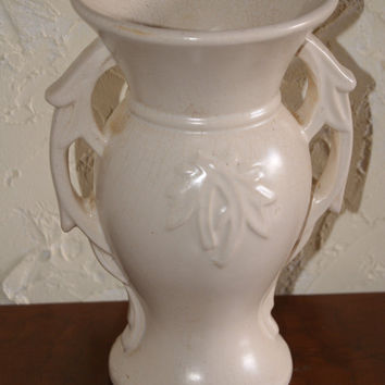 Vintage McCoy Double Handle Leaf Motif Urn Vase Faded Pink Color 1940s