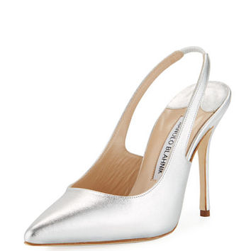 Manolo Blahnik Allura Metallic Leather Slingback Pump