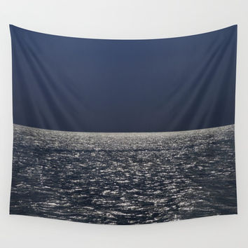 Silver sea. Blue sky before the storm Wall Tapestry by Guido Montañés