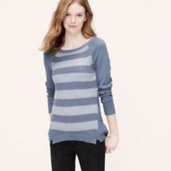 NWT Ann Taylor LOFT Ribbed Shirttail Cream & Gray Striped Sweater,Medium