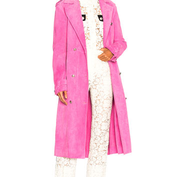 CALVIN KLEIN 205W39NYC Soft Suede Trench Coat in Fuchsia | FWRD