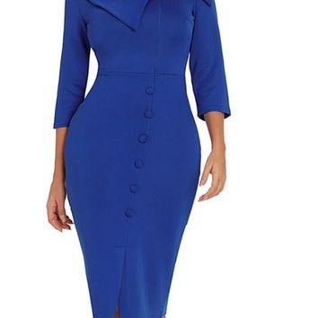Dark Blue Long Sleeve Button Detail Bodycon Midi Dresses