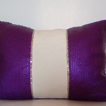 Purple Sequins w/ Beaded Trim (Purple Passion Collection) Luxury Lumbar Pillow Cover