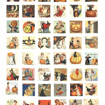 Halloween witches children clip art 1 inch squares images collage sheet