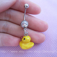 Cute Duck Charm Belly Button Ring, Crystal Belly Ring,