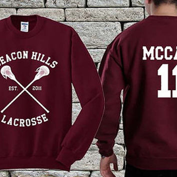 BEACON HILLS Lacrosse Team White Maroon sweater sweatshirt teen wolf. Personalized back Scott McCall 11