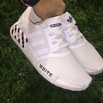 VOND4H OFF White x Adidas NMD Boost 3M Light Up Color White Men Women Sneaker BA7546