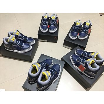 Air Jordan 3 Retro Navy/Yellow AJ 3-820064 Size 7-13