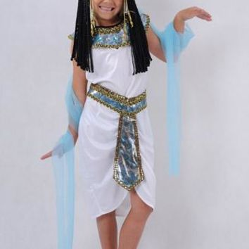 Children White Egyptian Pharaoh Cleopatra Costumes Halloween Cosplay Costume Egypt Princess Girls Make Up Party Suit B-5507