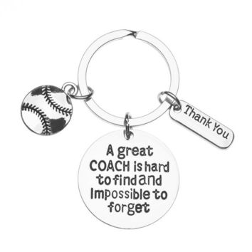 Softball Great Coach is Hard to Find But Impossible to Forget Keychain