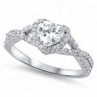 Always & Forever Sterling Silver Heart CZ Engagement Ring