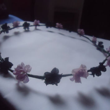 Purple and Black Floral Crown