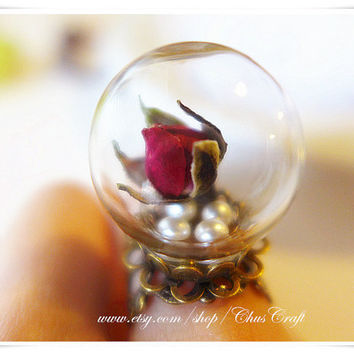 Real Flower Ring Enchanted Rose Jewelry Beauty and the Beast Rose Ring Red Rose Ring Rose Gold Promise Ring Couple Ring Terrarium Jewelry