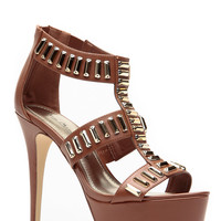 Anne Michelle All The Gold Chestnut Caged Heels