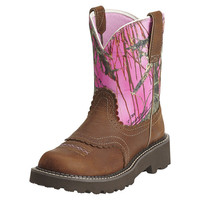 Ariat Fatbaby Pink Camo Tanned Copper Womens Western Boots