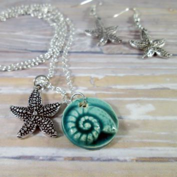 Nautilus Starfish Necklace and Earrings Set