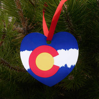 Colorado State Flag Christmas Ornament - Colorado Pride Ornament - Stocking Stuffer - Christmas Present - Holiday Gift Tag - Package Tag
