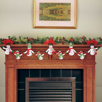 Snowman Family Holding Hands Holiday Winter Christmas Fireplace Mantel Garland