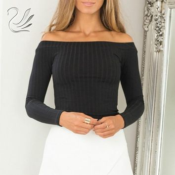 Women Knitted Sweater 2019 New Fall Off Shoulder Long Sleeve Slim
