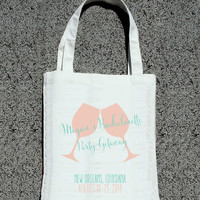 Bachelorette Party Getaway Wine Toasting Totes - Wedding Welcome Tote Bag