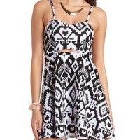 Cut-Out Ikat Print Skater Dress by Charlotte Russe - Black Combo