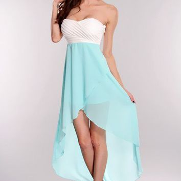 Aqua White High Low Hem Strapless Dress