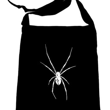 White Black Widow Spider Crossbody Sling Bag Horror Spooky Occult