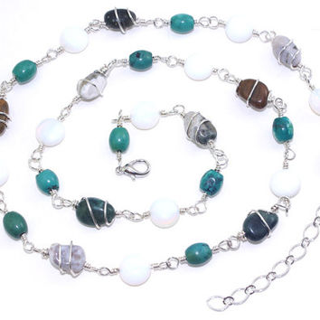 Ocean jasper nugget sterling silver fill wire wrap necklace Turquoise White glass opal bead Long brown blue gray gem stone wirewrap Gemstone