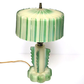 Vintage 1930s Green Striped Art Deco Shabby Chippy Glass Table Lamp, Bedroom Lamp, Electric Lighting, Cottage Decor, Bedroom Lighting Decor