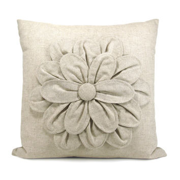 Flower decorative pillow cover Natural linen by ClassicByNature
