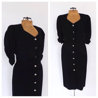 Vintage Escada Margaretha Ley Dress 1980s Navy Blue Fitted Wool Cocktail Dress 1940s Style Couture Dress Classic Wiggle Dress Size Large