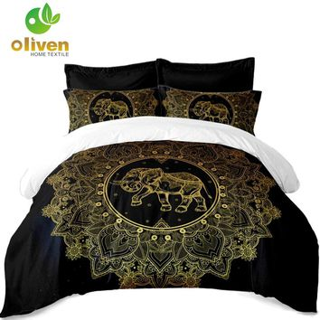 Cool Tribal Elephant Bedding Set Golden Mandala print Black Duvet Cover Polyester King Queen Bed Cover Pillowcase Indian Style A30AT_93_12