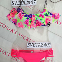 New Sexy Victoria's Secret PINK Bikini Set Floral Coral Ruffle Animal Print Neon