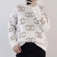 Hot Sale Autumn Winter Trending Women Stylish Mohair Long Sleeve Round Collar Sweater Pullover Top White