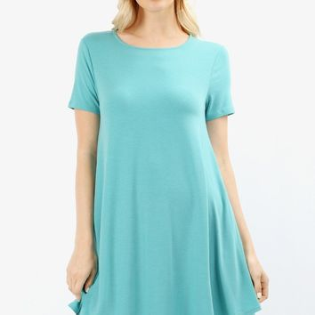 Women's Swing Dress With Pockets Aqua Blue: S/M/L/XL and 1xl-2xl-3xl