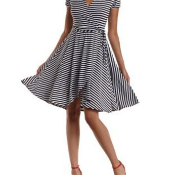 White Combo Striped Wrap Skater Dress by Charlotte Russe