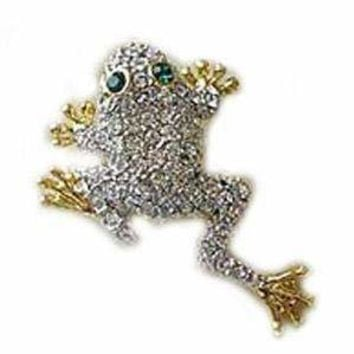 24k Gold-Plated Swarovski Crystal Jumping Frog Design Brooch/Pin