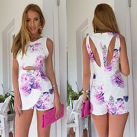 White Floral Print Cut Out Dress