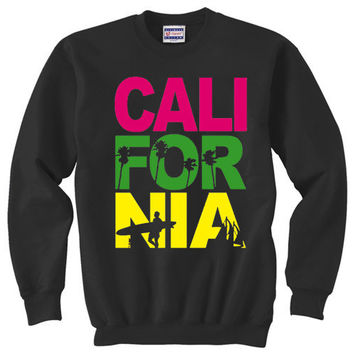 Crewneck Sweatshirt / California by TheRedCaboose on Etsy