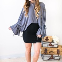 Flowing Melody Grey Boatneck Waffle Knit Sweater
